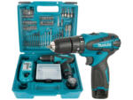 Trapano Avvitatore con percussione 10,8V Li-Ion con 2 batterie e 74 accessori HP330DX100 MAKITA